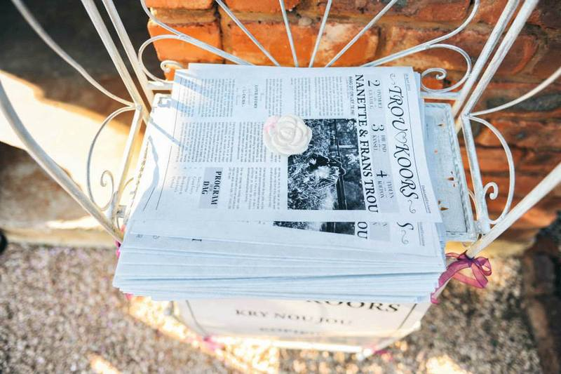 A4 wedding newspaper black and white print - a super fun way to tell your story to your guests and keep them entertained while you take your wedding pictures.