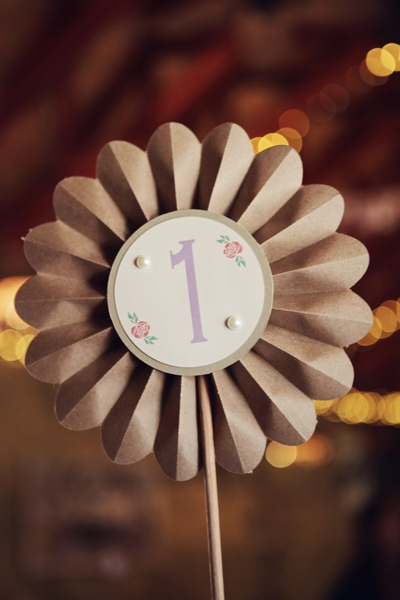 Adorable fan table number - with the fan part being made out of recycled paper. The printing and pearls rounds this off perfectly - creating a fresh new approach to table numbers.