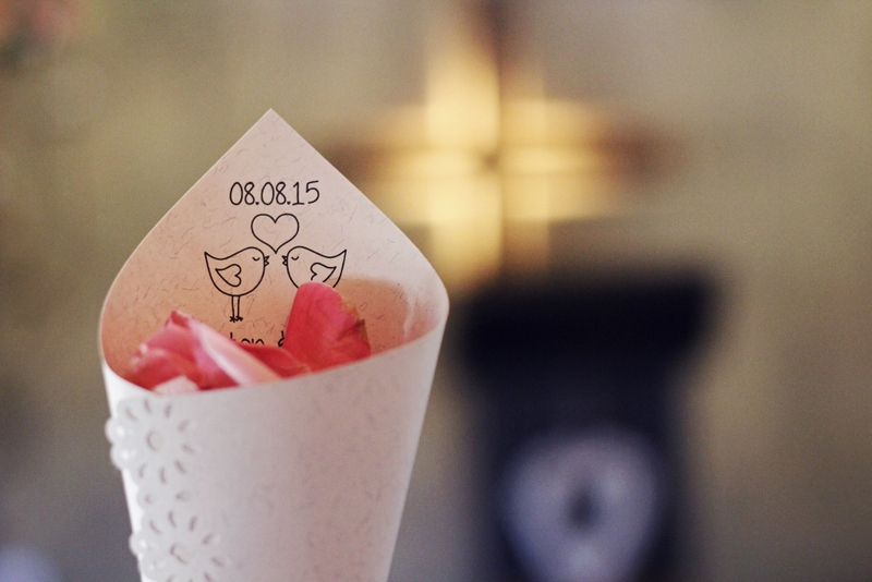 Confetti cones specially made for the bride and groom.