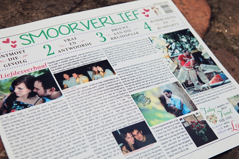 Our favourite and flag ship wedding newspaper. Full colour to catch the eye and keep the guests entertained.