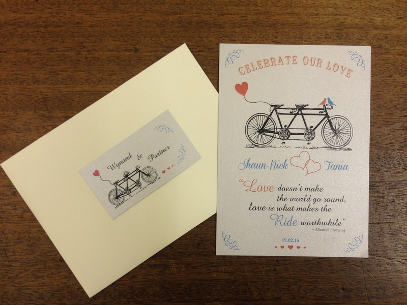 Custom silver and off white wedding invitation - bicycle themed.